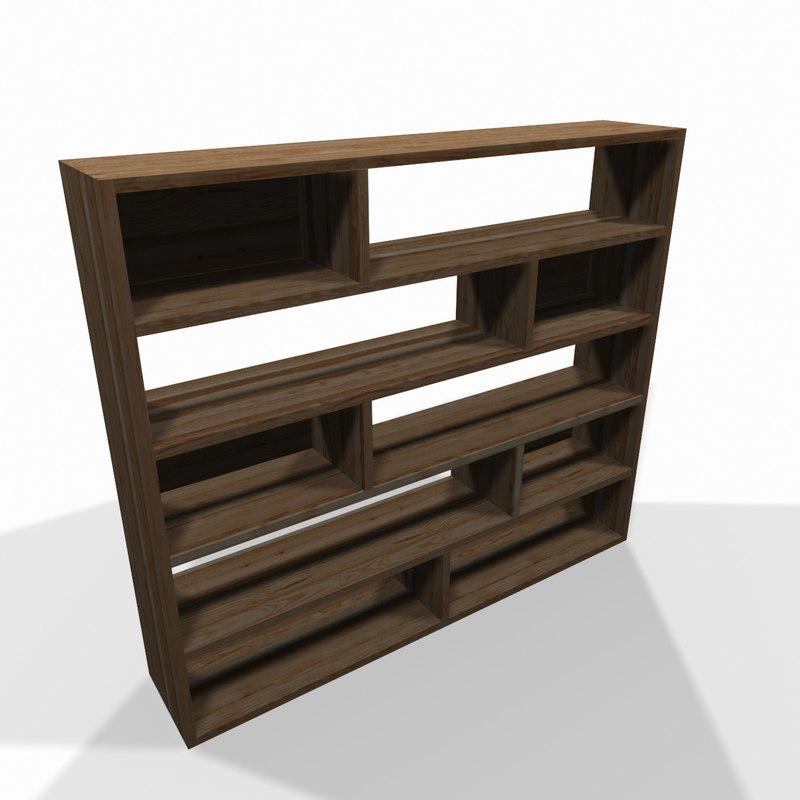 simple wooden shelf 3d model