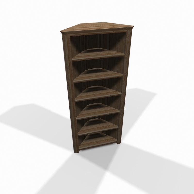 wooden corner shelf 3d model