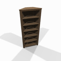 wooden corner shelf 3d model