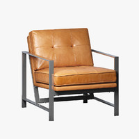 3d chair leather metal model