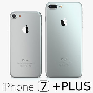 2 iphone 7 silver 3d model