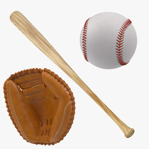 baseball bat catcher mitt obj