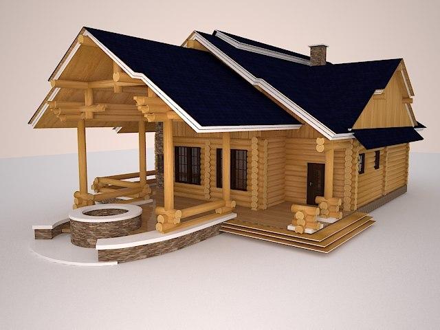 3d bathhouse house model