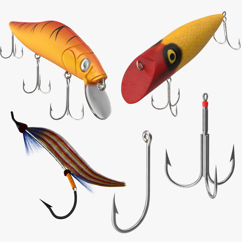 fishing hooks lures 3d max