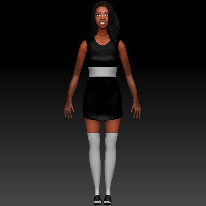 ebony girl 3d obj