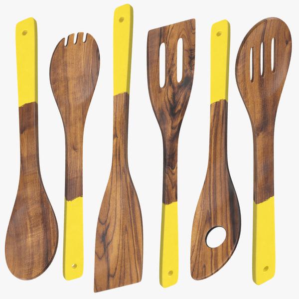 max dark wood utensil set