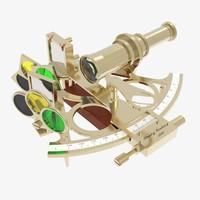 3d model captain s brass sextant