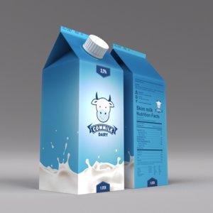 milk carton 3d obj