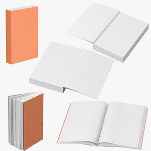 3d model generic book 5 poses