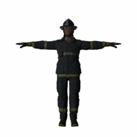 3d model firefighter polies rigged