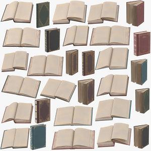 classic books poses 3d c4d