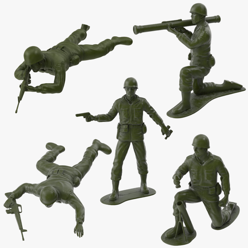 3d 5 plastic toy soldiers model