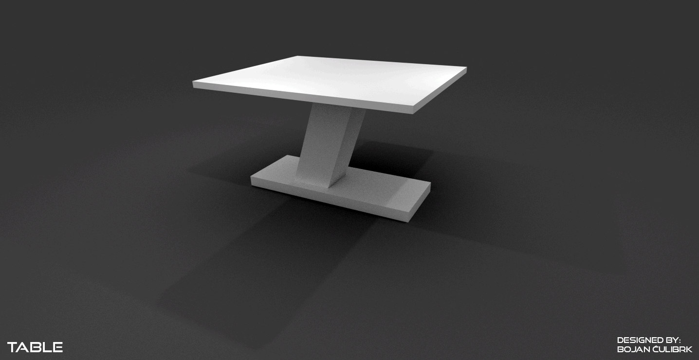 modern table set 3d obj