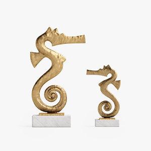 global seahorse sculptures gold 3d x
