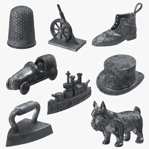 3d model monopoly pieces