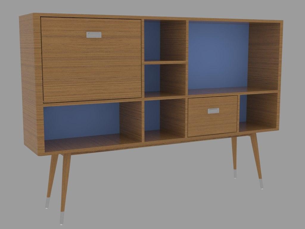 modern wall cabinet 3d 3ds