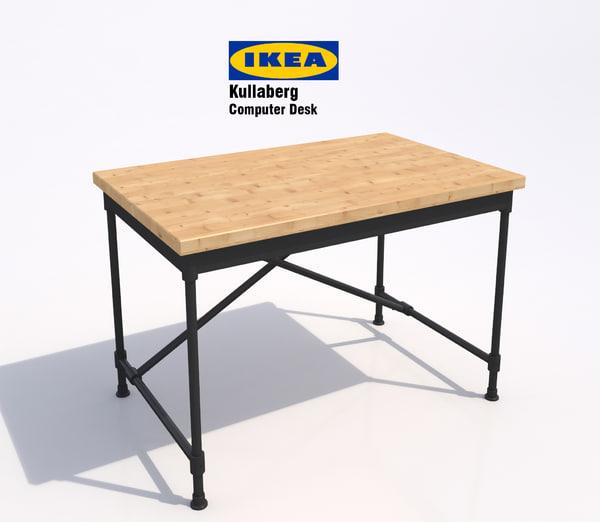 3d ikea kullaberg computer desk model