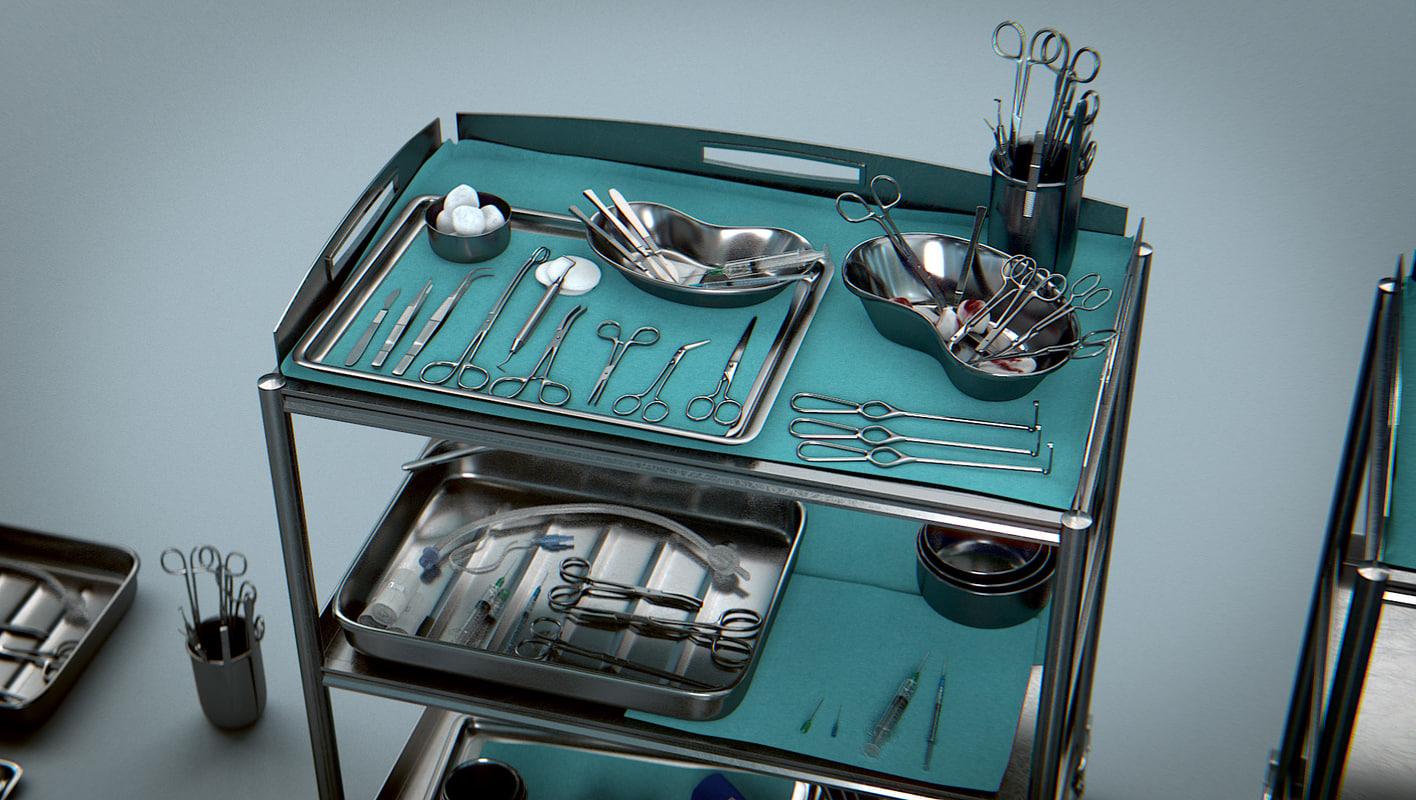 3d surgical instruments - medical equipment model