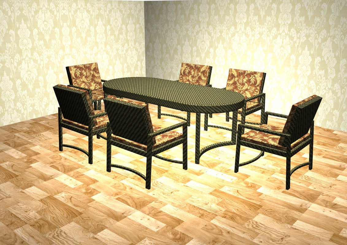 3d dining chair table set model