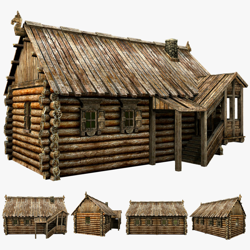 wooden village house max