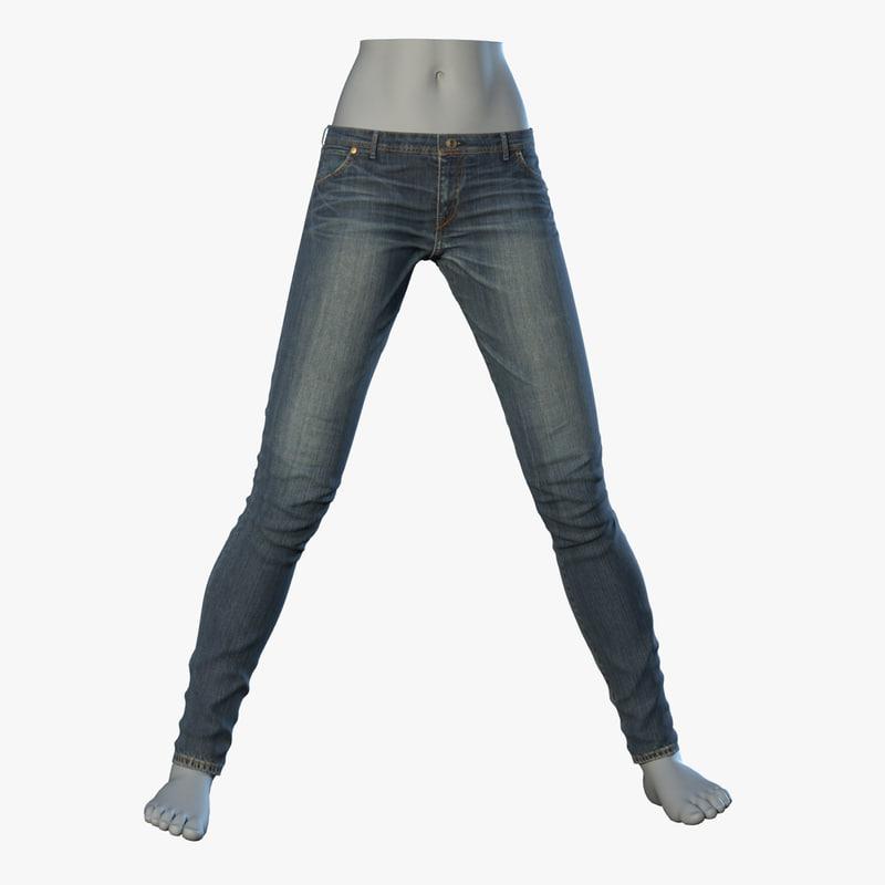 skinny jeans 3d model