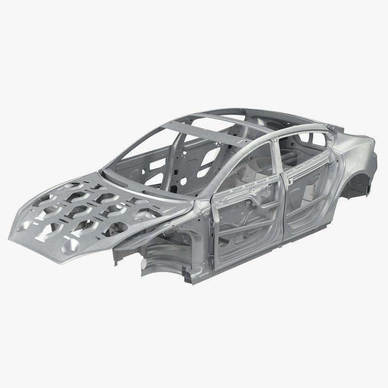 3d tesla s frame modeled model