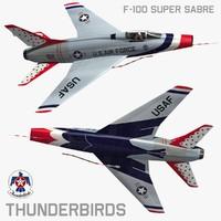 3d model north american thunderbirds