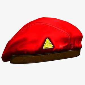 3d model beret hat uniform