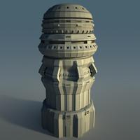 3d futuristic skyscraper model