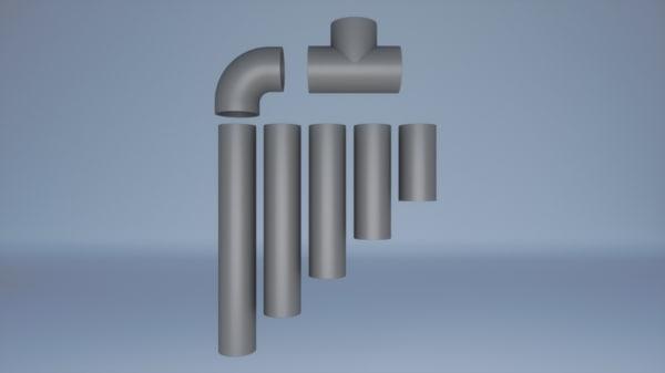 set pvc pipes 3d model