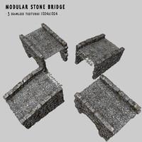 3d model modular bridge stones