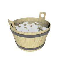 wood bath tub 3d blend