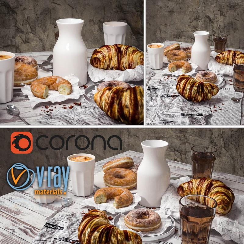3d set breakfast model