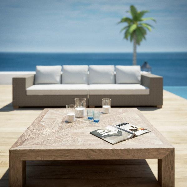 poolside garden furniture 3d model