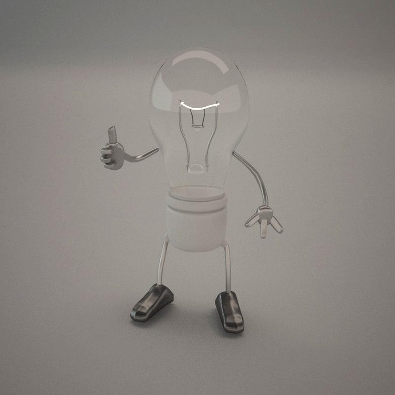 character light bulb 3d model