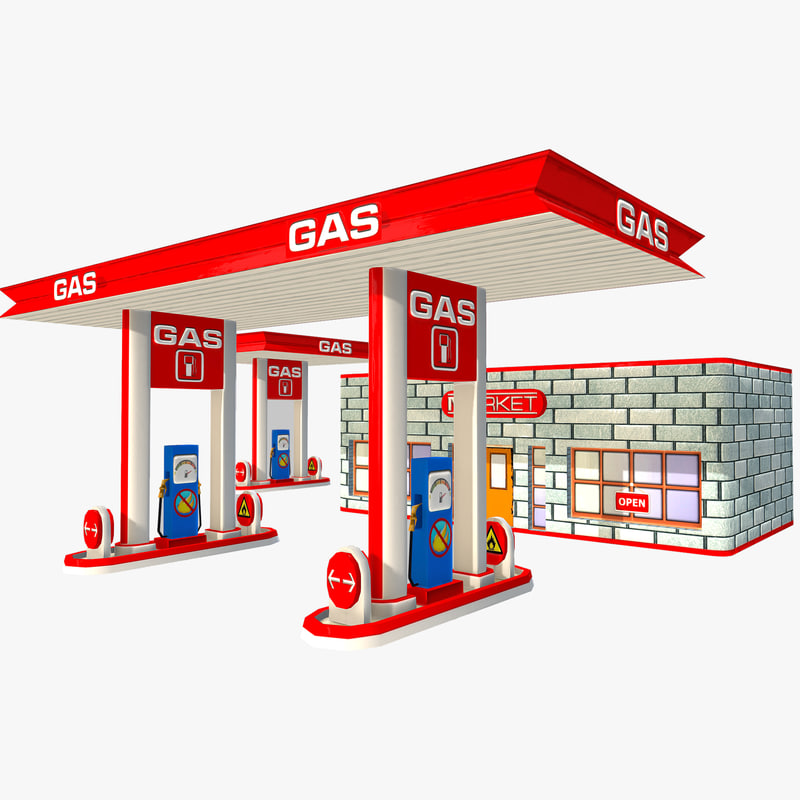 toon gas station 3d x
