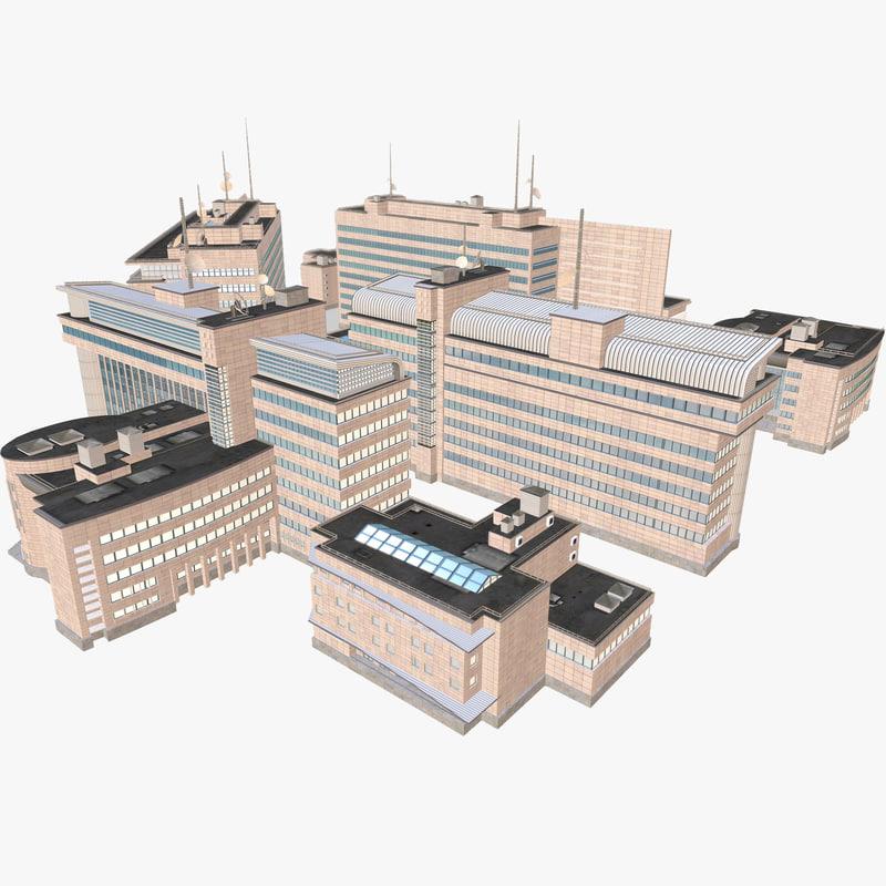 office buildings 3d fbx