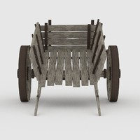 wooden cart wood 3d model