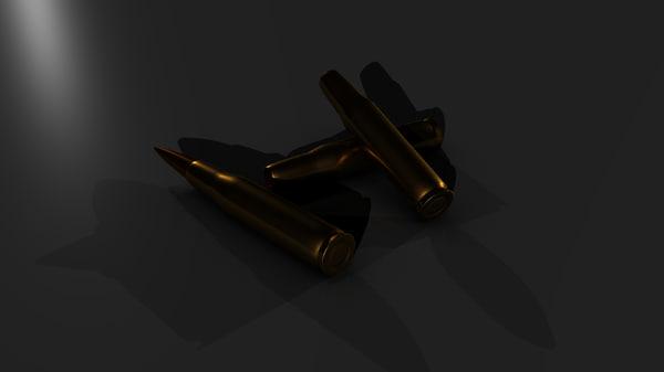 3d model of 50 cal bullet casing