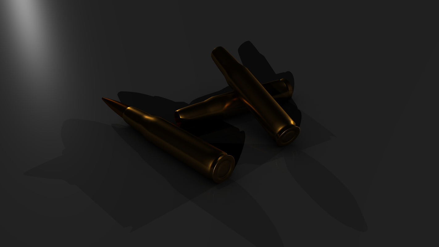 3d model of 50 cal bullet casing