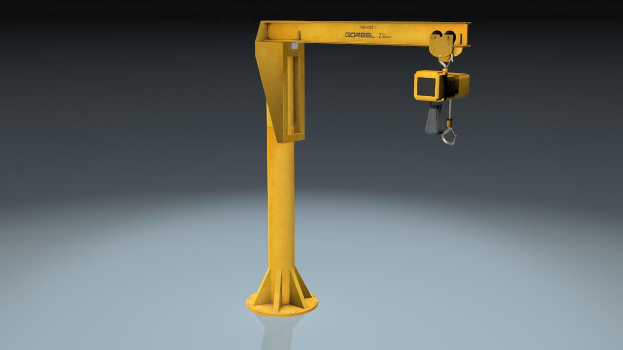 lifting hoist crane 3d model