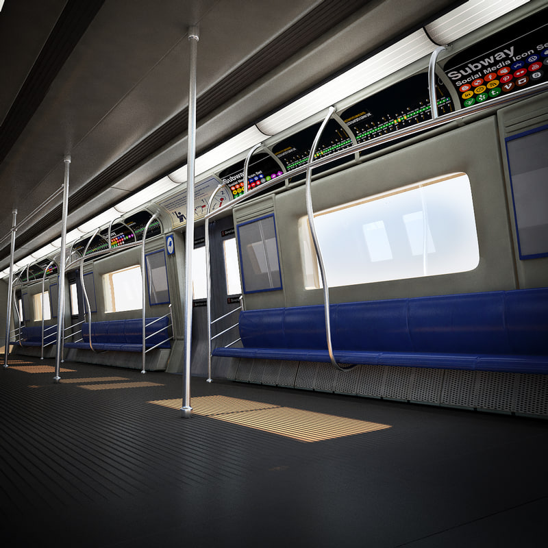 metro wagon interior facade 3d model