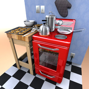 cartoon oven 3d obj