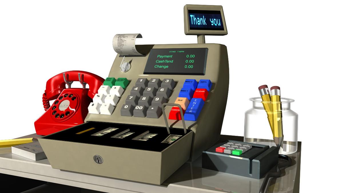 3d model of cartoon cash register