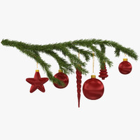 christmas fir branch 2 3d max