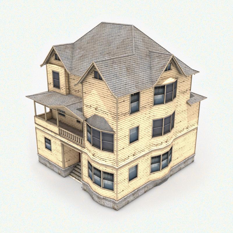 3d 3-story house roof model