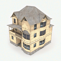 3d model 3-story house roof