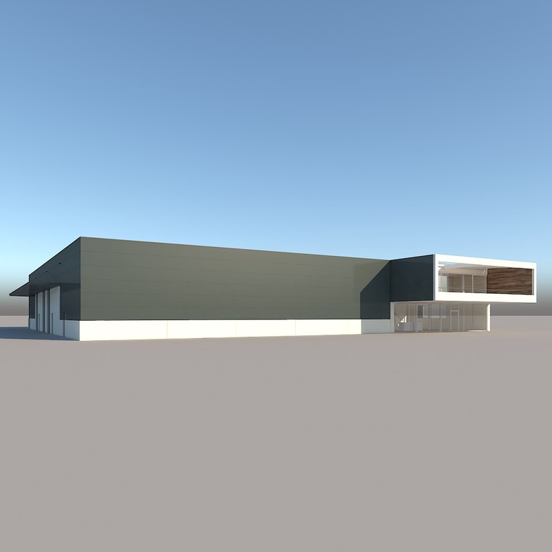 realistic industrial building 3ds