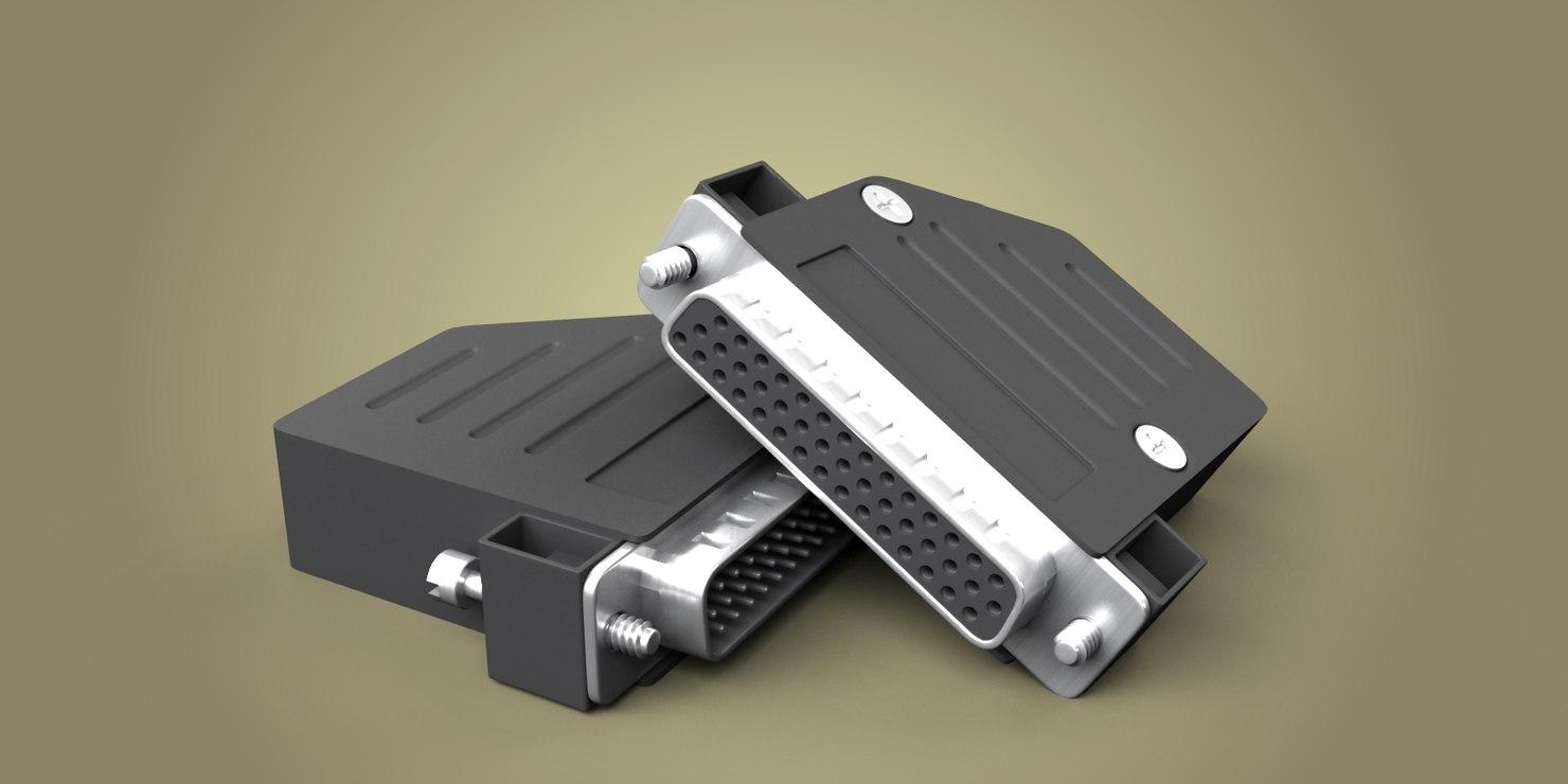 44 pin connector 3d model