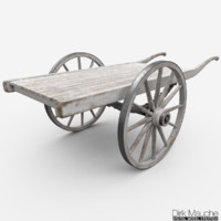 wooden cart 3d obj